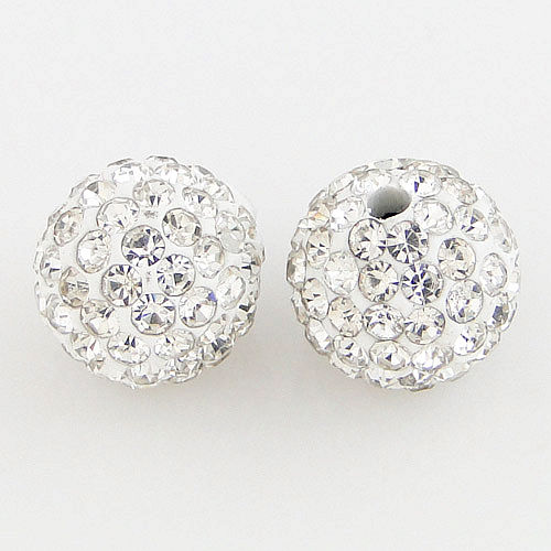 10mm White Shamballa Disco Ball Beads Wholesale CPB-003