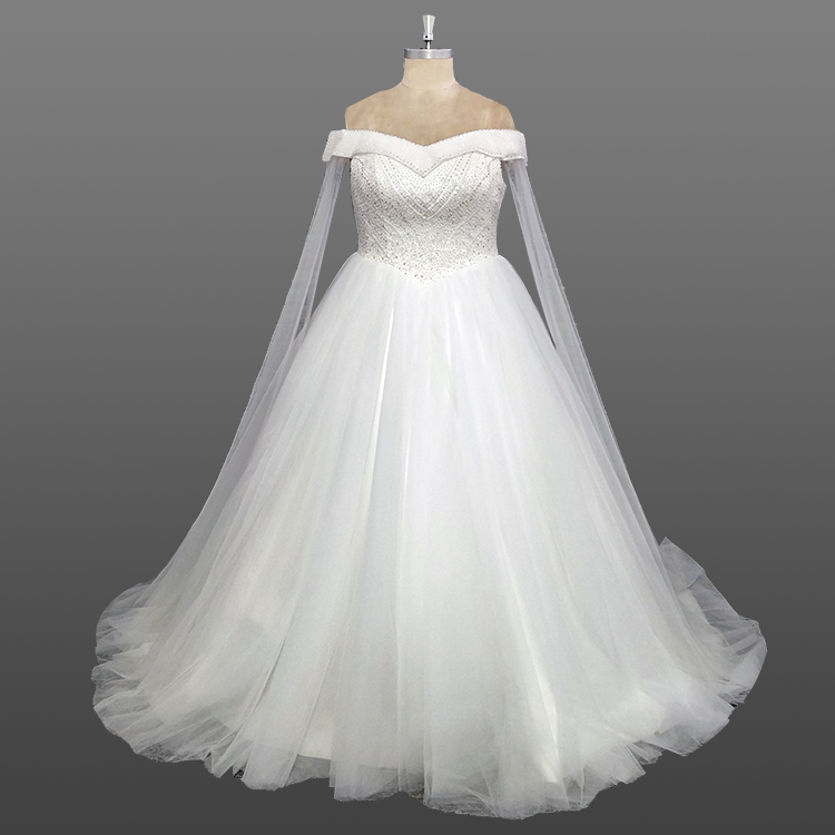 Latest Designs Wedding Gown Off Shoulder Beaded Top Fat Size Custom Made Dress With Shawl
