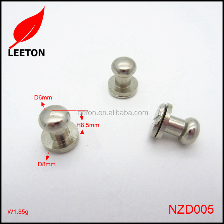 6mm round head metal screw back button stud for clothings