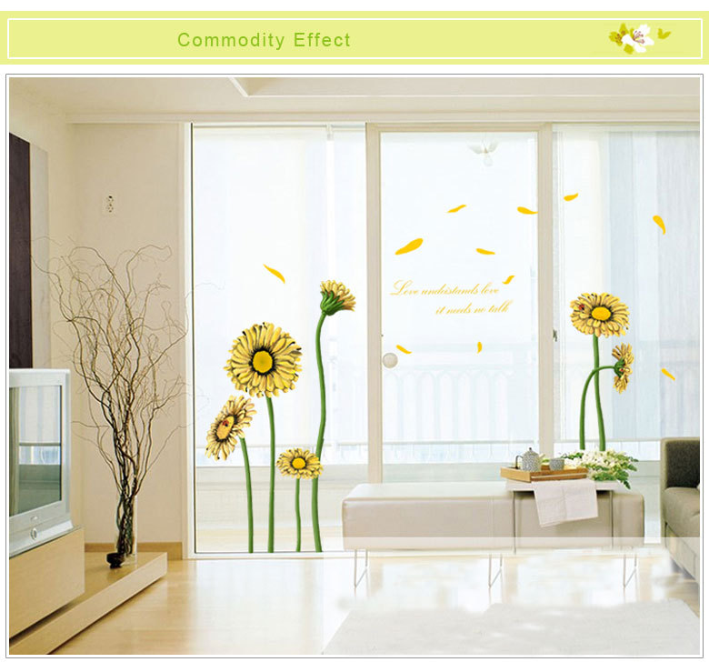 Romantic Sunflower Removable Wall Stickers Wall Decal Home Decor