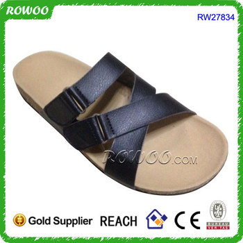 9b344b0df Hot Selling PU Leather Men s Flat Wood Sole Men Cork Slippers Sandals