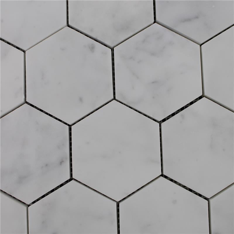 Cheap price carrara white marble stone hexagon mosaic tile