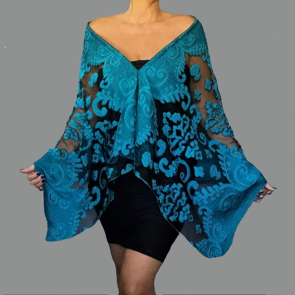 d0264f9421351 Get Quotations · Turquoise Shawl Black Organza Scarf Wedding Wrap Sheer Off  The Shoulder Top By ZiiCi