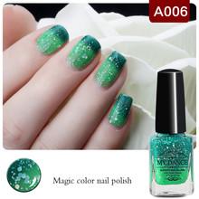 1 Bottle 6ml Peel Off Light Dark Shimmer Green Color Changing Thermal Nail Polish Nail Varnish