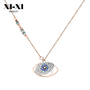 2018 Blue Zircon Evil Eyes Necklace Stainless Steel Chain Necklace