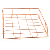 New design Wideny chrome plated school office supply stationery rose gold metal mesh wire table desktop file tray