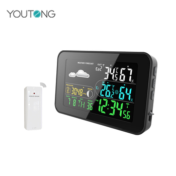 YT60186 Color Screen USB Charge Wireless Weather Stations , USB Digital Hygrometer Thermometer