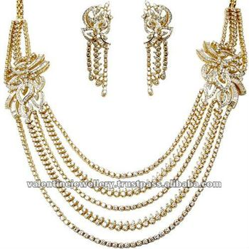 Indian Gold And Diamond Jewellery Heavy Bridal Necklace Design