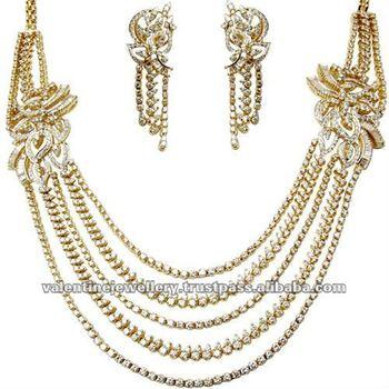 Indian Gold And Diamond JewelleryHeavy Bridal Necklace DesignMulti