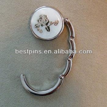 Purse Bag Clutch Hook Hanger, Bag Engraved Rose Silver Table Hooks, Metal Bag  Hanger