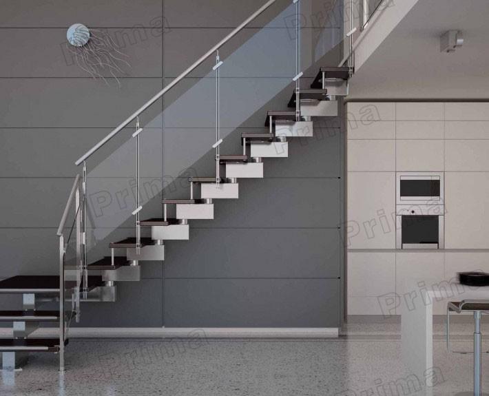 Indoor roestvrij staal glazen trap ontwerp met rubber hout stappen trappen product id - Railing trap ontwerp ...