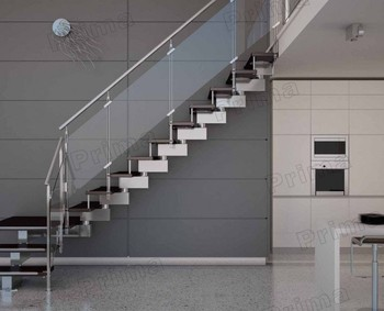 Indoor Stainless Steel Glass Staircase Design With Rubber Wood Steps