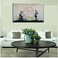 2015 New High Quality Interior Decoration HUGE BANKSY Repair the house CANVAS Art Print Home Wall DECOR Picture