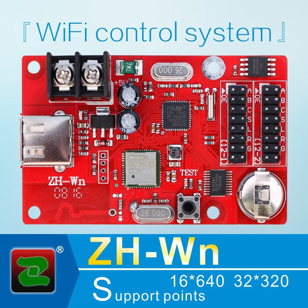 Zhonghang WIFI and USB P10 rgb asynchronous advertising ZH-Wn LED display screen control card