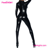 Wholesale cheap black front button rubber catsuit women