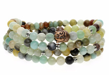 108 Bead Amazonite Buddha Head Buddhist Prayer Bracelet Necklace