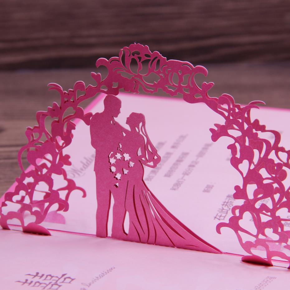 Wedding Invitation Card Paper: Fuchsia Invitation Wedding Card Laser Cut Art Paper 3D Pop