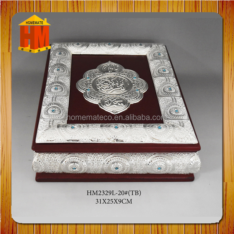 large size silver plated wooden moslem koran box / ramadan gifts box / luxury gift box with blue stone