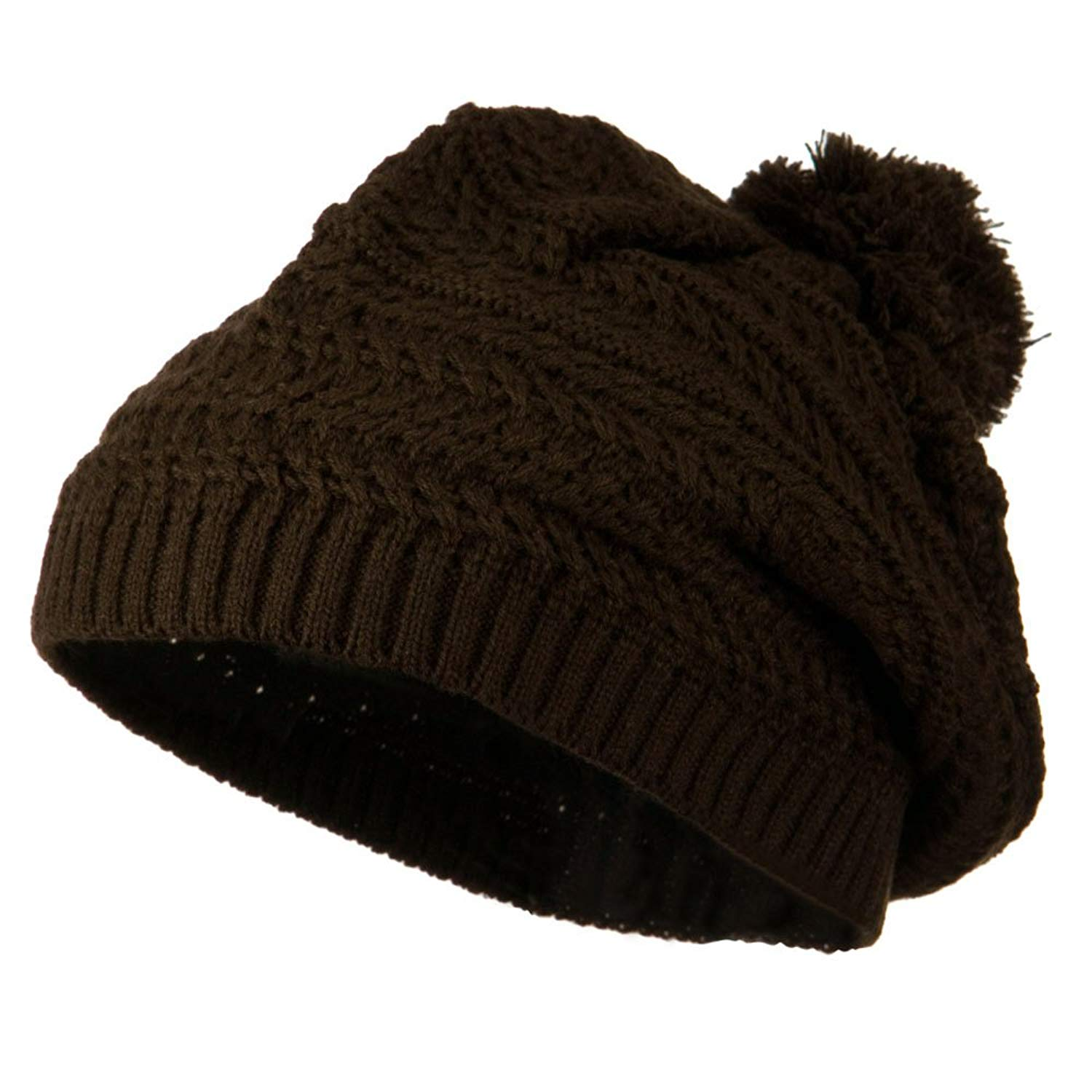 Slinky Knit Beret with Pom Pom - Brown W24S27F
