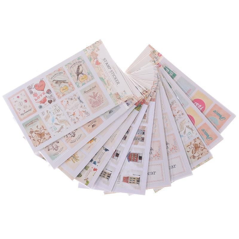 10Pcs/lot DIY Scrapbook Note Paper Retro Tower Flower Stamps Stickers Decoration Sticker Vintage Album Postage Stamp Stickers