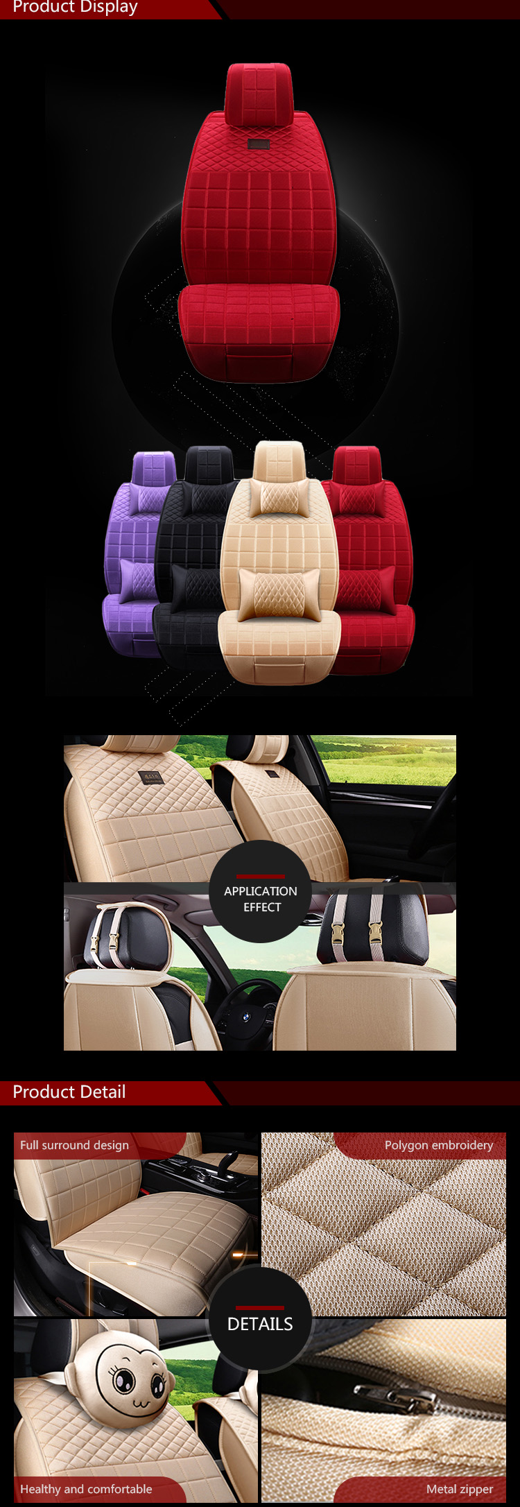 Best Sale Full Set Cushion Car Seat Cover Universal