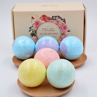 Color Explosion Bath Set 6 Salt Ball Bathing Essential Oil Ball with dried flower bubble bomb