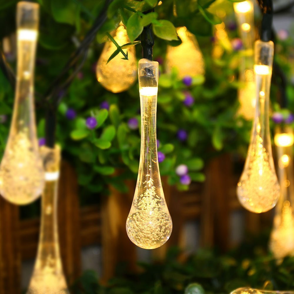 Get Quotations · ACEHOME Solar Outdoor String Lights 20ft 30 LED Warm White Water Drop Solar String Fairy & Cheap Solar Fairy Lights Outdoor Warm White find Solar Fairy Lights ...