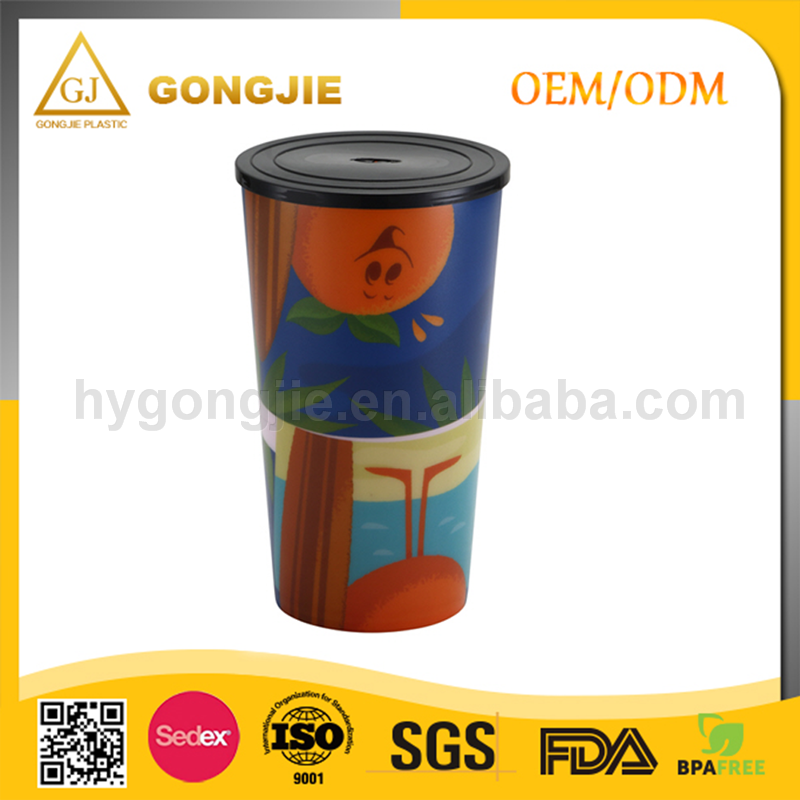 Popular FDA Disposable Plastic Cup with Lid and Straw