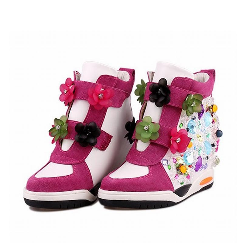 2015 Women Wedge Sneakers Sport Platform Shoes For Woman Genuine leather Rhinestone Flower Hidden High heel Casual Ladies Shoes