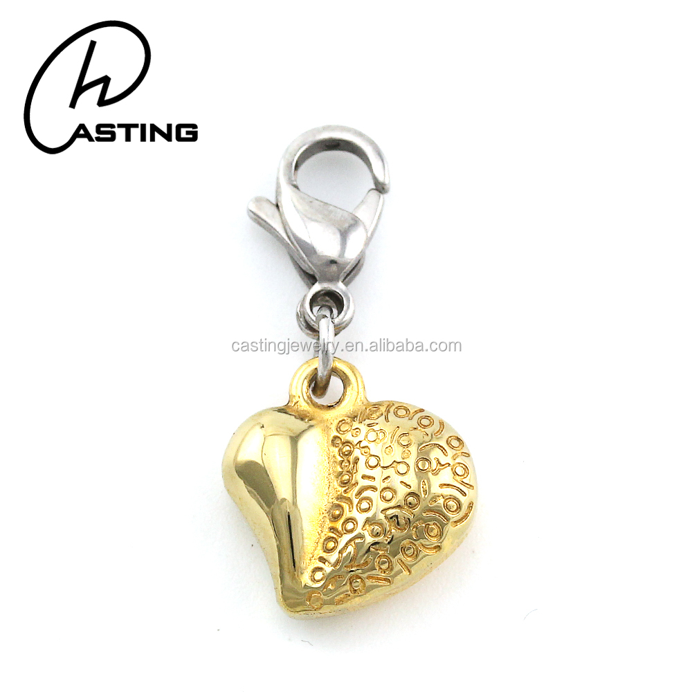 Bulk Jewelry Gold Heart Pendant Charms For Bracelet DIY