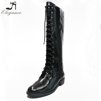 6779ef3fcc9 Mujeres zapatos de cuero gladiador encaje por encima de la rodilla botas de  montar a caballo