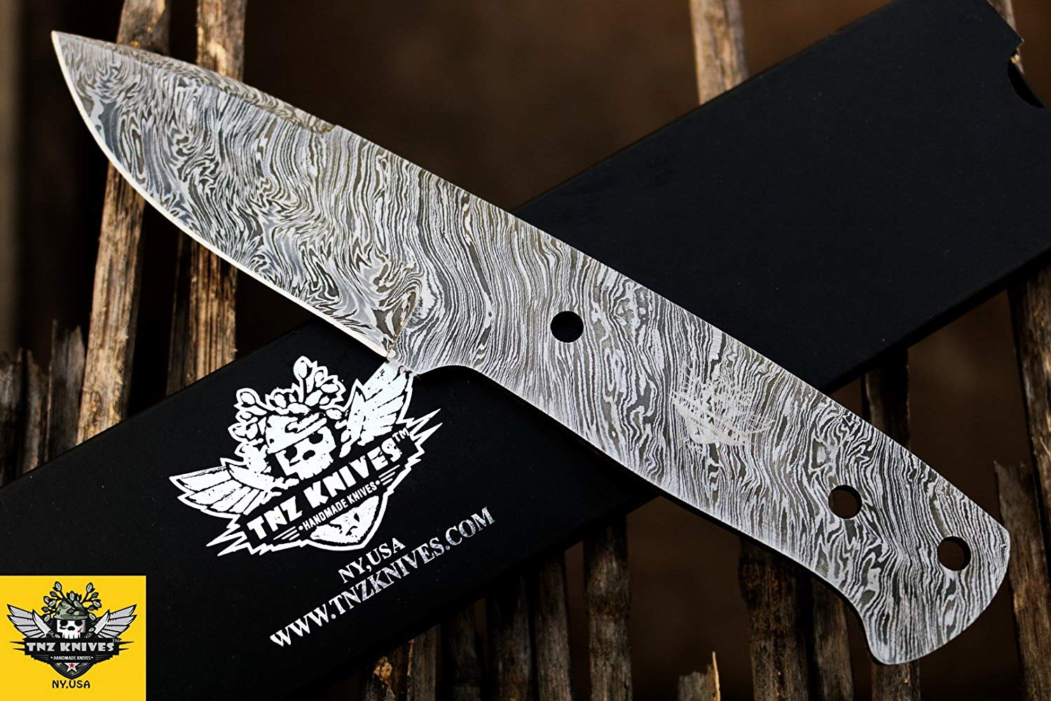 "TNZ-105 USA Damascus Blank 9″ Long 4.5″Blade "" 5.9oz Hunting Camping Skinner blank blade Damascus knife TNZ Hand Made Damascus knives"