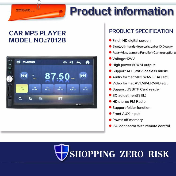 New 2 Din 7'' inch LCD Touch screen car radio player support 5 Languages  Menu BLUETOOTH hands free rear view camera car audio, View auto radio,