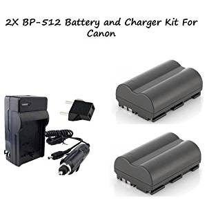 Excelshots 2 Pack Power Battery With Charger For Canon BP-512 and Canon EOS 5D, 10D, 20D, 30D, 40D, 50D, D30, D60, Digital Rebel, Pro90 IS, Pro 1, G1, G2, G3, G5, G6 Digital Cameras & Optura Pi, ZR10, ZR20, ZR25, ZR30, ZR40, ZR45, ZR50 Camcorders.