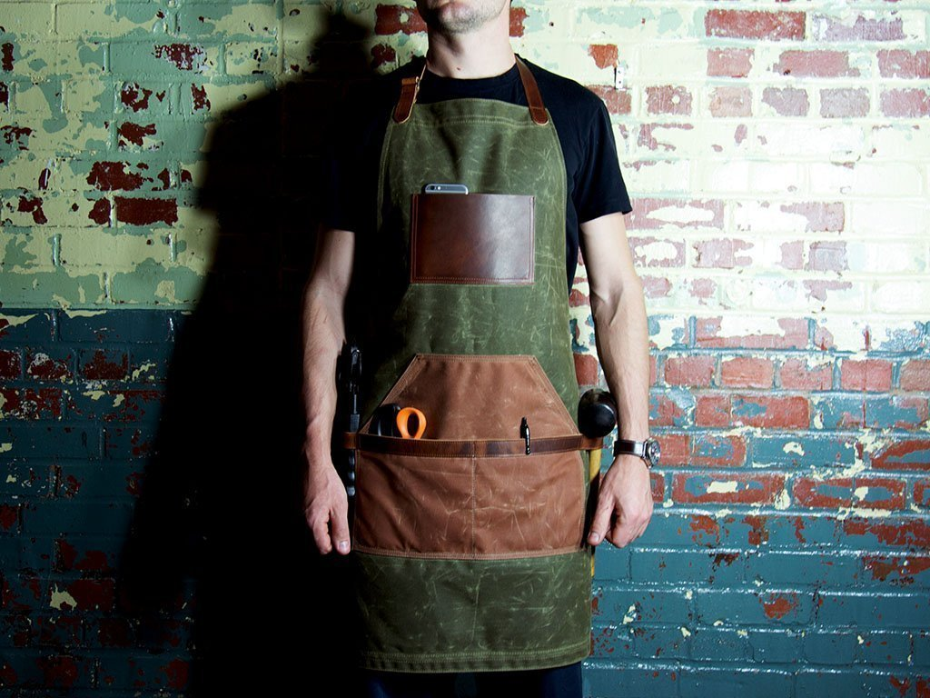Leather and Canvas Apron, Waxed Canvas Apron, Work Apron, Green Apron, Cross Strap Apron