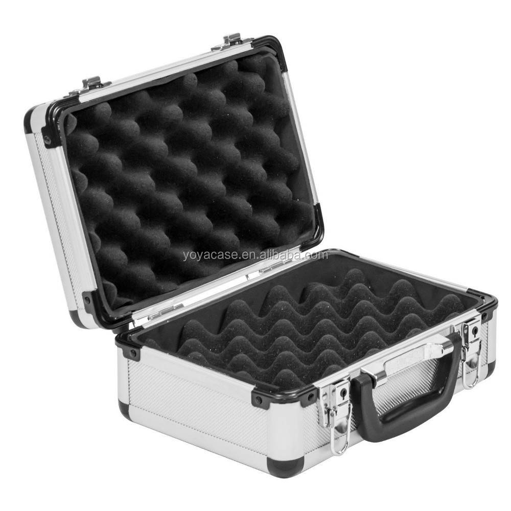 silvery portable aluminum gun case for short weapon