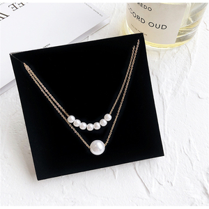 Elegant Style Double Layer Thin Chain Necklace With Fresh Water Pearl Pendant Necklace A Gift For Your Girlfriend