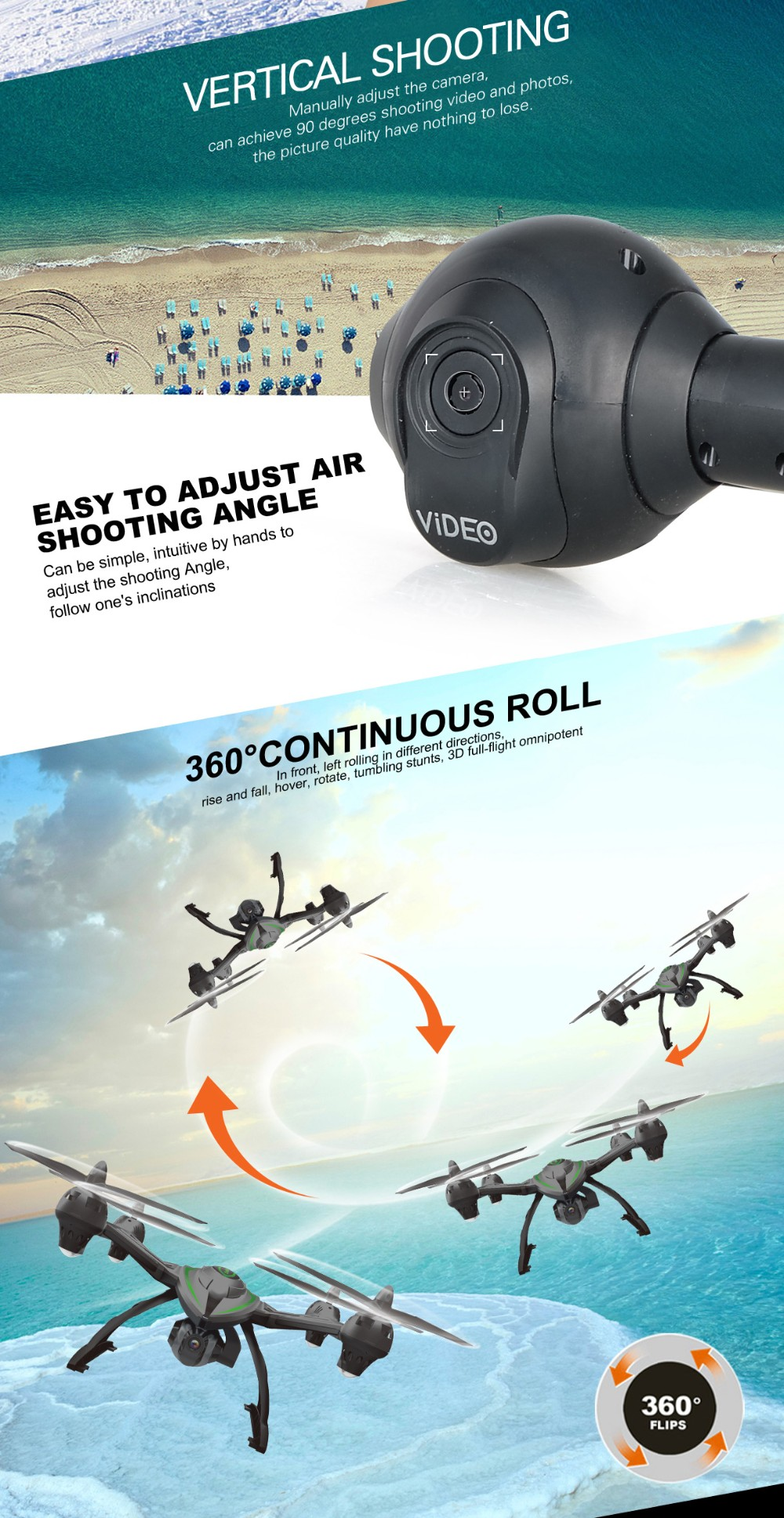 54cm large rc quadcopter camera Drone with 5.8G real-time transmission