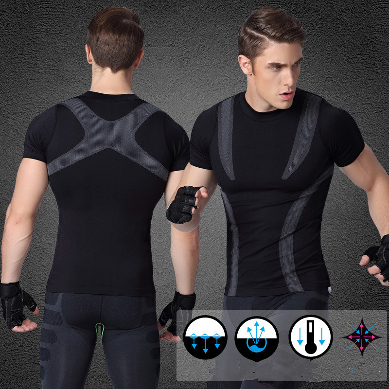 Customized Logo Men's Dry Fit Workout Running Compression Muscle T-shirt 3