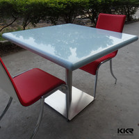 white dining table and 4 red chairs, solid surface Dining Set