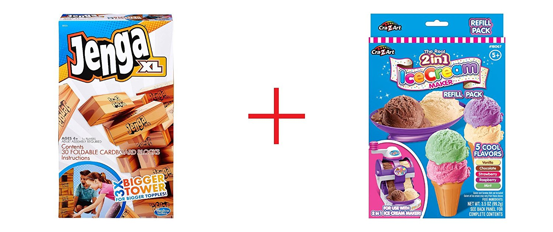 Jenga XL Game and Cra-Z-Art Twirl & Swirl Ice Cream Maker - Refill Pack - Bundle