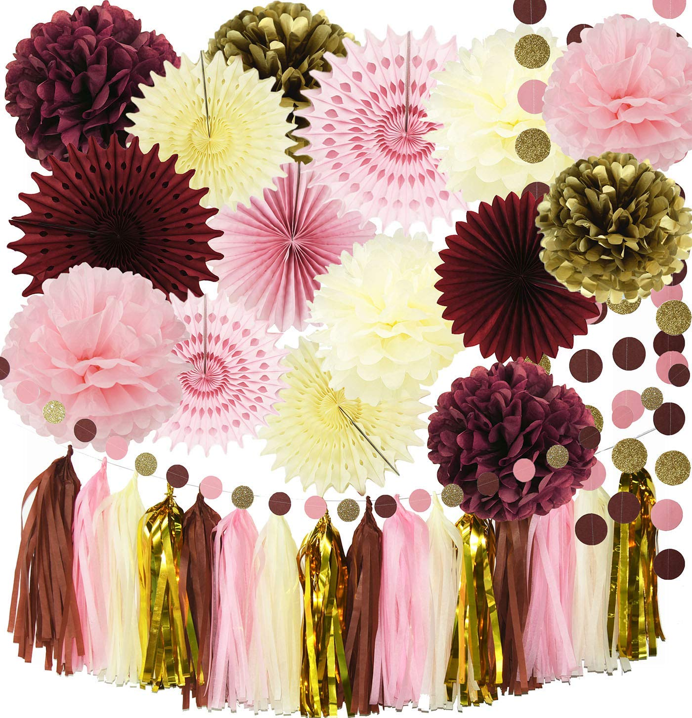 Bridal Shower Decorations Qian's Party Maroon Party Decorations Burgundy Pink Glitter Gold Birthday Decorations Tissue Paper Pom Pom Tassel Garland Burgundy Wedding/Bachelorette Party Decorations
