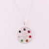 Hk 095 Yiwu Huilin Jewelry New Design Sunflower Silver Plated Religious Seven Crystals Chakra OM Yoga Necklace