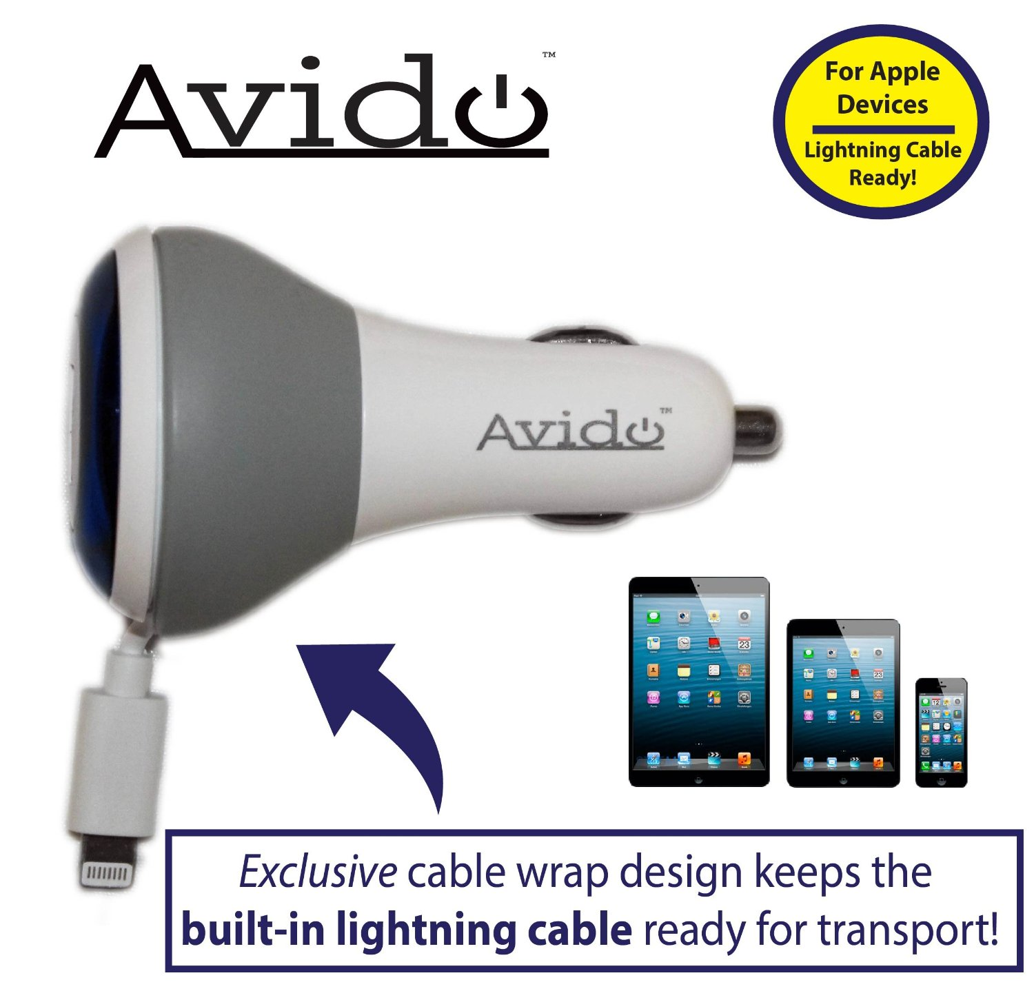 Avido™ Lightning Car Charger with Exclusive *Built-in Cable Wrap* and Two High-Speed 2.4A / 2.1A USB Ports - 2.3 Feet (70cm) - for iPhone 6/ 6s, iPhone 6/ 6s Plus, iPhone 5, iPhone 5c, iPhone 5s, iPad 4, iPad Air, iPad Air 2, iPad Mini, iPad Mini 3, iPod Touch 5, iPod Nano 7. Pefect For Travel and