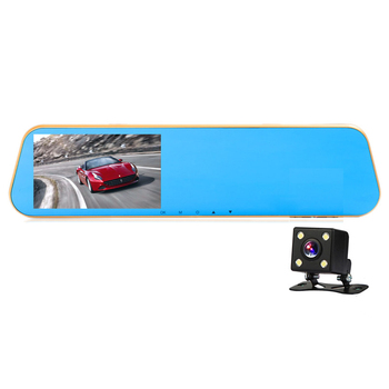 Rearview mirror 4.3 inch single Dual lens HD night vision car driving recorder with electronic dog parking monitoring