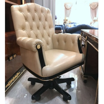 Yb69 Luxury Antique Vintage Chesterfield Leather Office Chair Solid Wood Upholstery Chairs Swivel Boss