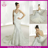 SD1225 halter top lace overlay wedding dress backless lace mermaid style wedding dresses
