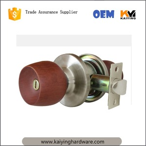 Cylinder wood knob door handle lock stainless steel entry safe lock KY5831ET-SS