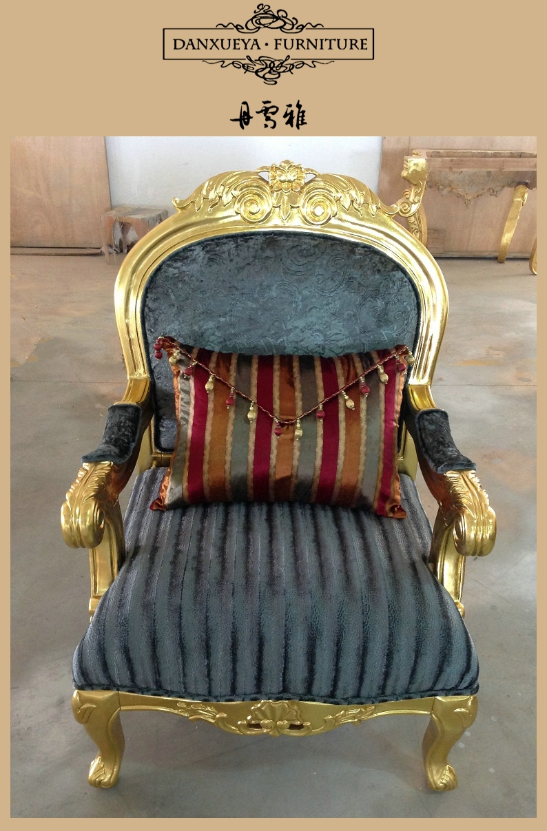 Arabic Royal Living Room Furniture Luxury Golden Wood Carved Sofa