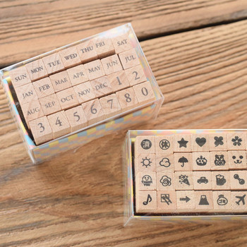 Custom Engraved Wooden Rubber Stamps Set for Scrapbooking